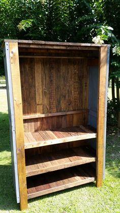 """Recycle wood pallets: We were given these Cedar Shutters and we turned them into a beautiful Chifferobe/Armoire. The dimensions are 79"""" high x 50"""" wide x 19"""" deep. The clothes bar is 42"""" from the top shelf. From the ground, the shelves are 7"""", 19"""" and 33"""" up. We are not going to add doors to this, but you could make burlap drapes for it or use it as an Entertainment Center. We are asking $400 for this piece. Item # 266"""