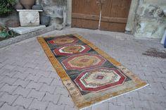 "Vegetable dyed Turkish Rug 3'8"" x 8' Vintage Rug Natural Wool Rug Handwoven Boho Rug Turkish Rugs Rug Rustic Rug Floor Rug Area Rug"