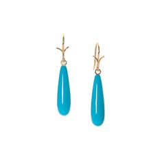 "Slender smooth drop turquoise earring from the Sleeping Beauty mine in Arizona. 18k yellow vine ear hook.  1.25"" in length."