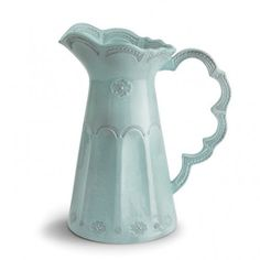 Arte Italica Merletto Aqua Scalloped Pitcher - Liz Ann's Interior Design Boutique http://lizann.myshopify.com/products/arte-italica-merletto-aqua-scalloped-pitcher