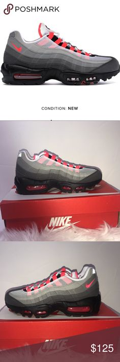 Nike Air Max 95 OG Solar Red Size M 4 W 5.5 NEW Nike Air Max 95 OG White    Solar Red Men s 4 Women s 5.5 New in box NIB NWT AT2865100 Retail  160 Item  Nike ... b32694ae3