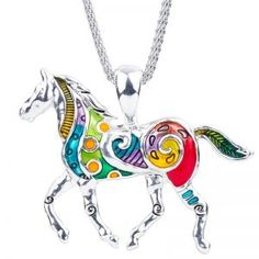 DianaL Boutique Large Colorful Silver Tone Horse Pendant Necklace on Mesh Chain Fashion Jewelry * Wonderful of your presence to have dropped by to see the photo. (This is an affiliate link) Horse Necklace, Horse Jewelry, Necklace Sizes, Pendant Necklace, Free Horses, Equestrian Gifts, Gifts For Horse Lovers, Stainless Steel Chain, Boutique