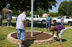 flag pole landscaping - Google Search