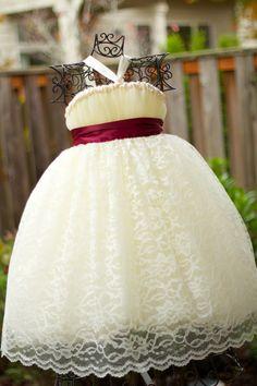 Ivory Flower Girl Tutu Dress with Ivory Lace