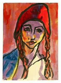 Emil Nolde - Mädchen mit ZöpfenEmile Nolde (German~Danish 1867~1956) | He was one of the first Expressionists, a member of Die Brücke.Artist Emile NoldeFosterginger.Pinterest.ComMore Pins Like This One At FOSTERGINGER @ PINTEREST No Pin Limitsでこのようなピンがいっぱいになるピンの限界