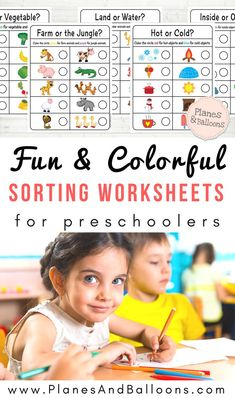 Free printable sorting worksheets for preschool to help children learn more complex concepts beyond colors or shapes. Easy and quick download.