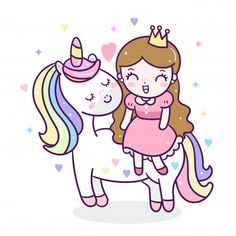 Cute unicorn vector, doodle pony with a magic princess cartoon Hand drawn of fairytale horse in Flat style design. Perfect for kid's greeting card, t-shirt print, inspiration poster (Vector isolated) Chibi Kawaii, Kawaii Doodles, Cute Kawaii Drawings, Unicornios Wallpaper, Funny Phone Wallpaper, Unicorn Art, Cute Unicorn, Coloring Book Art, Coloring Pages
