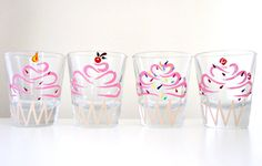 You Pick 2- Birthday Cupcake Shot Glasses- Hand Painted Glassware. $20.00, via Etsy.