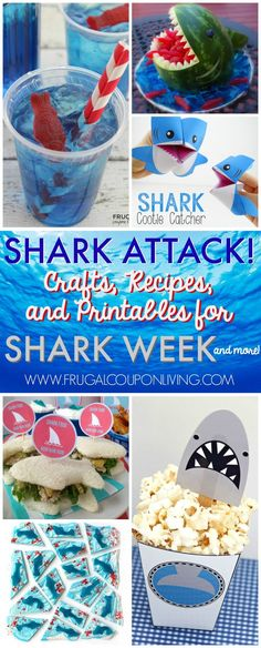 Shark Week Ideas for Kids on Frugal Coupon Living. Are you a fish out of water when it comes to planning the perfect themed party?  For me, it takes days to sometimes search the internet and find some of the best themed content for our special occasion. Shark Week, which starts Sunday, June 26th,  is right around the corner and we wanted to give you some of the Best Shark Week Ideas for Kids. From crafts, to foods to printables, there is a little bit of something for everyone! Shark Week Crafts, Shark Craft, Shark Party Foods, Shark Snacks, Under The Sea Party, Party Themes, Party Ideas, Diy Ideas, Birthday Parties