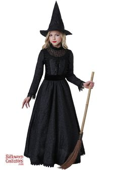 Deluxe Dark Witch Costume for Girls Carrie Halloween Costume, Kids Witch Costume, Fairy Halloween Costumes, Girl Costumes, Little Girl Witch Costume, Costume Ideas, Halloween Party, Devil Costume, Ghost Costumes