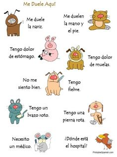 III, 4 - FREE printable Me Duele Aqui poster -- ten health-related sentences in Spanish -- hang or use as a base for a charades-style game!  Find this and many, many more FREEBIES at PrintableSpanish.com!