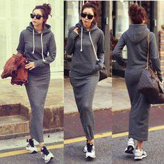 Newest Hot Autumn Winter Bodycon Sweater Long Maxi Slim Full Dress Outer Wear | eBay