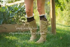 Brown Lace Boot Socks by SimplySweetbySarah on Etsy