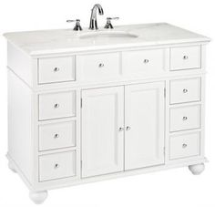 "Hampton Bay 44""W Single Bath Vanity with White Marble Top - Sink Cabinets - Bathroom Vanities - Bath | HomeDecorators.com"