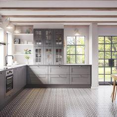 Køkkendesign til det moderne liv: Find dine nye køkkenmøbler Bodbyn Kitchen Grey, Grey Kitchens, Ikea Kitchen, Rustic Kitchen, Home Kitchens, Kitchen Dining, Kitchen Decor, Grey Interior Design, Restaurant Interior Design