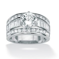 4.65 TCW Round Cubic Zirconia Platinum Over Sterling Silver Engagement Anniversary Ring Palm Beach Jewelry. $99.99