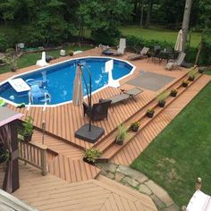 Above Ground Swimming Pools, Swimming Pools Backyard, Swimming Pool Designs, In Ground Pools, Above Ground Pool Landscaping, Backyard Pool Landscaping, Backyard Pool Designs, Decks Around Pools, Pool Deck Plans