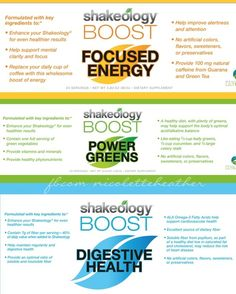 Boost your system even MORE with Shakeology Boosts! Whether you need: Focused Energy (yes, please), Power Greens to alkaline your system, or Digestive Health support - you can learn about them all here!