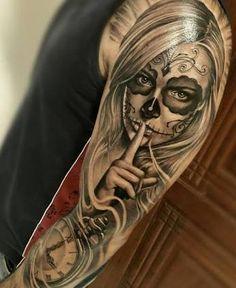 50 la catrina tattoo designs for men - mexican ink ideas Skull Girl Tattoo, Sugar Skull Tattoos, Tattoo Girls, Girl Tattoos, Tatoos, Body Art Tattoos, New Tattoos, Sleeve Tattoos, Tattoos For Guys