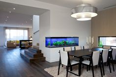 Formal dining with feature built in aquarium. Fish Aquarium Decorations, Wall Aquarium, Home Aquarium, Aquarium Design, Aquarium Ideas, Home Interior Design, Interior And Exterior, Terrarium, Fish Tank Design