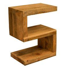 Ambala Cube Light Mango Wood S Shape Side Table - Lamp Table