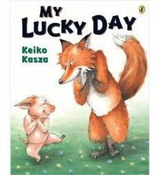 Title: My Lucky Day, Author: Keiko Kasza, Genre: Comedy, Fable/Folktale, DRA: 16-18, Strategy: This book is about a fox who happens upon a defenseless pig and goes through the process of preparing him as a delicious meal. This is a good book for students to practice sequencing. As they go through multiple read-throughs of the book, students can share what happens next and answer questions about the book.
