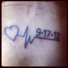 Memorial tattoo ~ My Dad's last heartbeat and date he passed.
