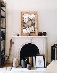 best of: friday finds. | sfgirlbybay Vintage Frames, Vintage Decor, Vintage Art, Home Living, Living Room Decor, Living Rooms, Gold Framed Mirror, Mirror Mirror, White Mantel