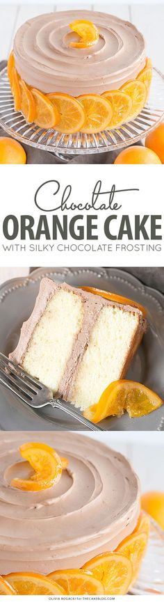 Chocolate Orange Cake - layer cake infused with orange zest and orange syrup, topped with chocolate frosting and candied orange slices | By Olivia Bogacki for http://TheCakeBlog.com