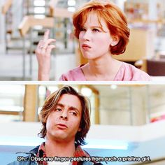Breakfast Club Oh, Obsence finger gesture from such a pristine gal. Claire Standish (Molly Ringwald) and John Bender (Judd Nelson) 80s Movies, Iconic Movies, Classic Movies, Great Movies, Movie Tv, 1980s Films, The Breakfast Club, Breakfast Club Quotes, Movies Showing
