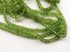 Peridot Plain Rondelle Beads Natural Peridot by gemsforjewels