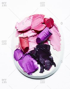 Various lipsticks smeared