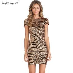 2018 Sexy Backless Gold Silver Sequin Dress Women Short Sleeve Bodycon Pencil Dress Cocktail Party Dress For Women Vestidos Striped Sequin Dresses, Gold Sequin Dress, Black Party Dresses, Sequin Shorts, Party Dresses For Women, Sexy Dresses, Silver Sequin, Dress Party, Club Dresses