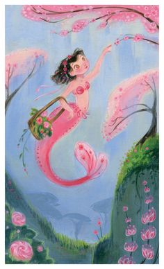 Spring Mermaid: Art Print by CaseyRobinArt on Etsy Mermaid Cove, Mermaid Fairy, Mermaid Lagoon, Mermaid Images, Mermaid Pictures, Lany, Illustrations, Illustration Art, Large Art Prints