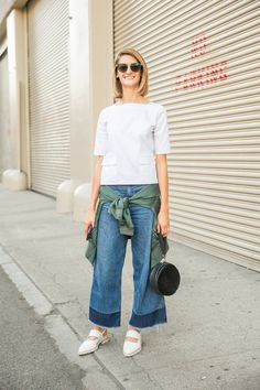 Pin for Later: 37 Weekend Outfits to Have on Hand — Till the End of Time A Boxy Top, a Silk Bomber, and Wide-Leg Jeans