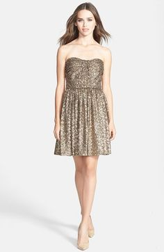 What to Wear to a Winter Wedding:  Jill Jill Stuart Strapless Sequin Fit & Flare Dress available at #Nordstrom