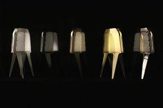 designers : Christophe Hascoët - Annabel Karim Kassar - Isabelle Rolland Le principe consiste à disperser un flux lumineux au travers de surfaces perforées aux lignes brisées. Les furtives ont étés présentées en 2012 à Superstudio Temporary Museum for New Design Milan, Italy