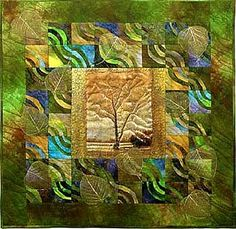 "Arlene Blackburn quilt art Hand-dyed cotton fabrics by artist; digital image by artist on cheesecloth; machine pieced and quilted; silk leaf embellishment 27"" x 27"""