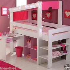 Mädchen Kinderbett Hochbett Funktionsbett Rosa Kinderzimmer Bett  Jugendzimmer