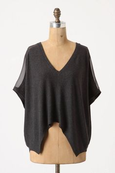Anthropologie Effortless Angles Top Sz L, Gray Asymmetrical Hem V-Neck, Bordeaux #Bordeaux #KnitTop #Casual