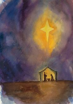 watercolor nativity scene | Jennifer Smith Greene | Graphic Design and Watercolor Illustration