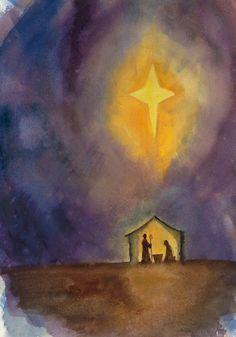 watercolor nativity scene | Jennifer Smith Greene | Graphic Design and Watercolor Illustration