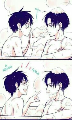 Levi, Eren, bathtub, cute, yaoi, EreRi, RiRen, beard, bubble bath; Attack on Titan