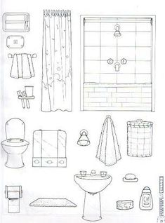 Bathroom: color, cut and glue activity Parts of the house cut outs Quiet Book Templates, Quiet Book Patterns, Paper Doll House, Paper Houses, Colouring Pages, Coloring Books, Activities For Kids, Crafts For Kids, Home Themes