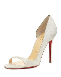 Toboggan Glitter Leather Red Sole Pump, Ivory by Christian Louboutin at Neiman Marcus.  Dear Santa, I NEED THESE!!!