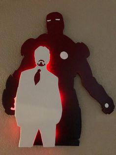 Hand Carved, Hand Painted, Carved Wood, Marvel Room, Chibi Marvel, Geek Room, Light Wall Art, Man Wallpaper, 3d Laser