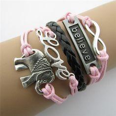 Classic Women Pink Elephant&believe Charm Leather Wristbands Bracelets for Girlfriends--Cheap Wholesale