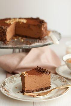 tarta fría de queso y chocolate