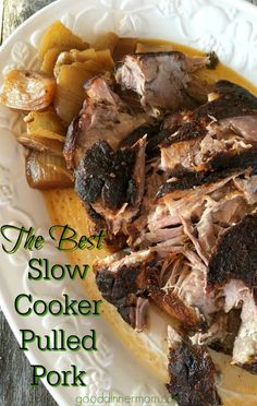 Slow Cooker Pulled Pork starts with a dry rub, then gets basted in a Carolina style vinegar sauce. Fall off the bone tender, juicy, and delicious.