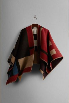 Burberry Prorsum Colorblock Check Blanket Poncho, $1395, available at Burberry.